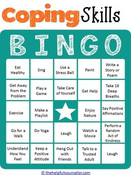 COPING SKILLS BINGO GAME FOR KIDS AND TEENS - TeachersPayTeachers.com