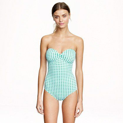 Pin for Later: Make a Splash . . . With a One-Piece J.Crew Dotted Bandeau One-Piece J.Crew Grid Dot Bandeau Tank ($98)