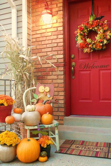 Entry-Door-Outside fall decor      like the wording on door. would put blessings instead