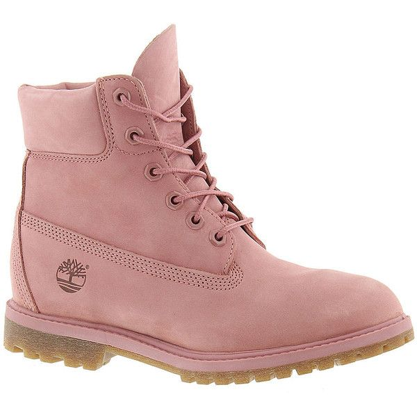 "Timberland 6"" PREMIUM (3.025 UYU) ❤ liked on Polyvore featuring shoes, boots, pink, timberlands, dusty rose, timberland boots, genuine leather shoes, waterproof leather shoes, pink shoes and leather boots"