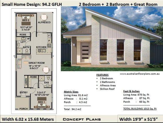 Small House Plan 1000 Sq Foot 94 2 Sq Meters 2 Bedroom House Plan 94 2 Gflh Small Home Granny Flat Concept House Plans En 2020 Plans Petite Maison Moderne Decoration Maison Et Plan Maison Moderne