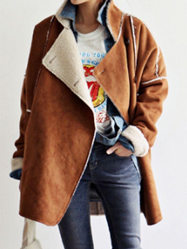 Khaki Suedette Lapel Shearling Detail Coat
