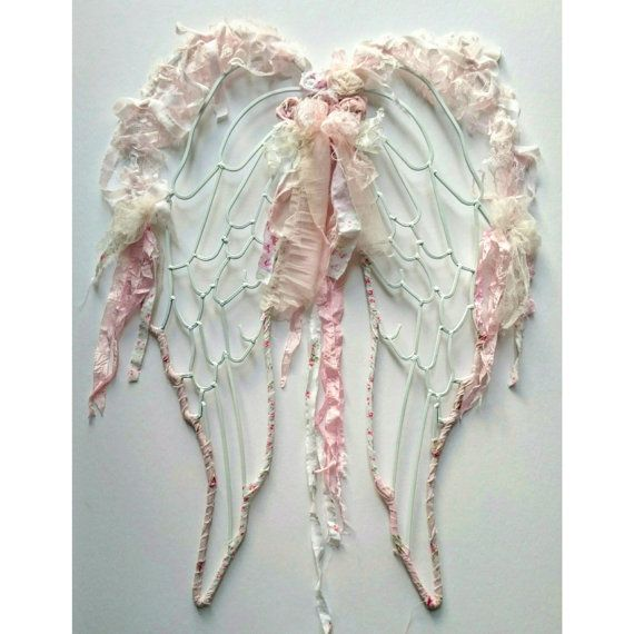 Shabby Chic Angel Wings, Lace Angel Wings, French Country Angel Wings,  French Nordic Angel Wings, Angel Wings Nursery Wall Decor