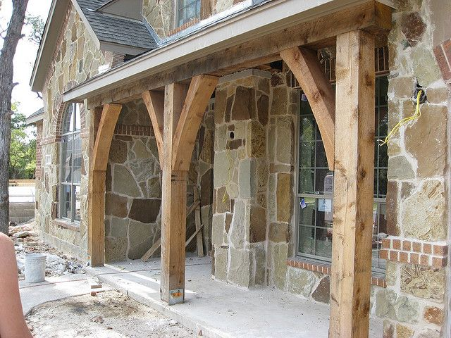 Cedar Posts On The Front Porch Exterior Houses