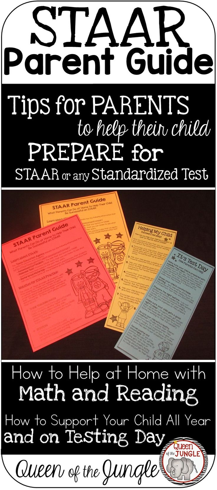 STAAR Standardized Test EDITABLE Parent Guide helps parents with ideas to support Math and Reading. Tips for improving achievement all year and on Test Day. Works with any Standardized Test. Editable so you can