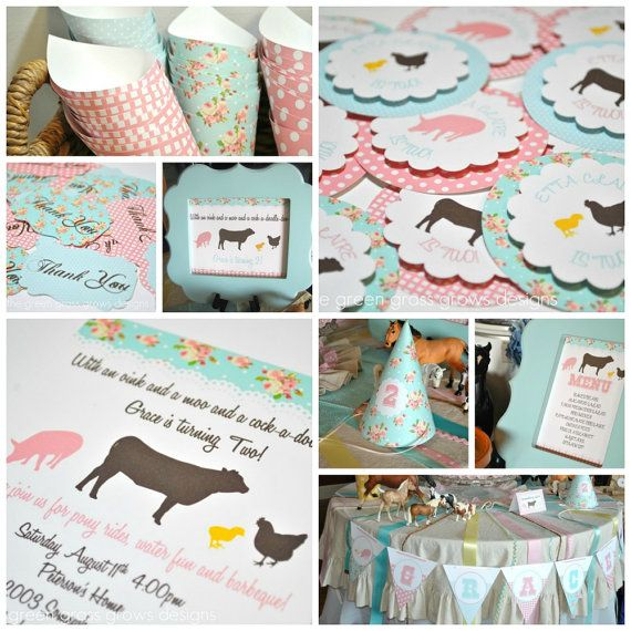 Shabby Chic Farm Party Package by TheGreenGrassGrows on Etsy, $97.20