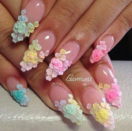 112 best acrylic flowers on nails images on pinterest flower 18 vintage floral nail designs you will love styles weekly prinsesfo Image collections