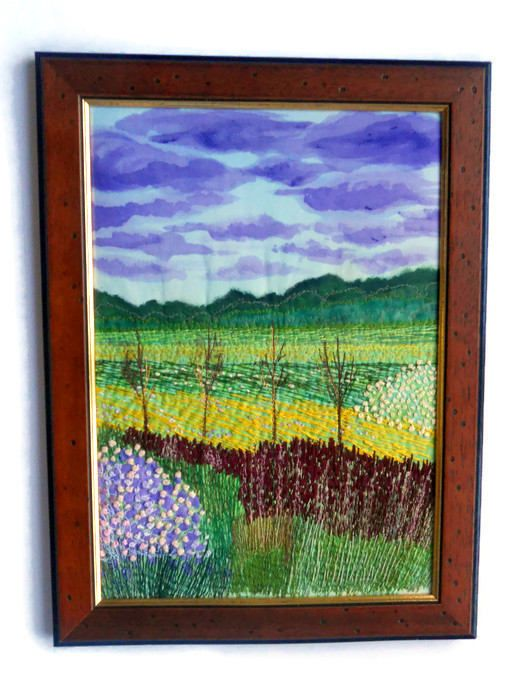fiber art  wall hanging framed textile picture  embroidery