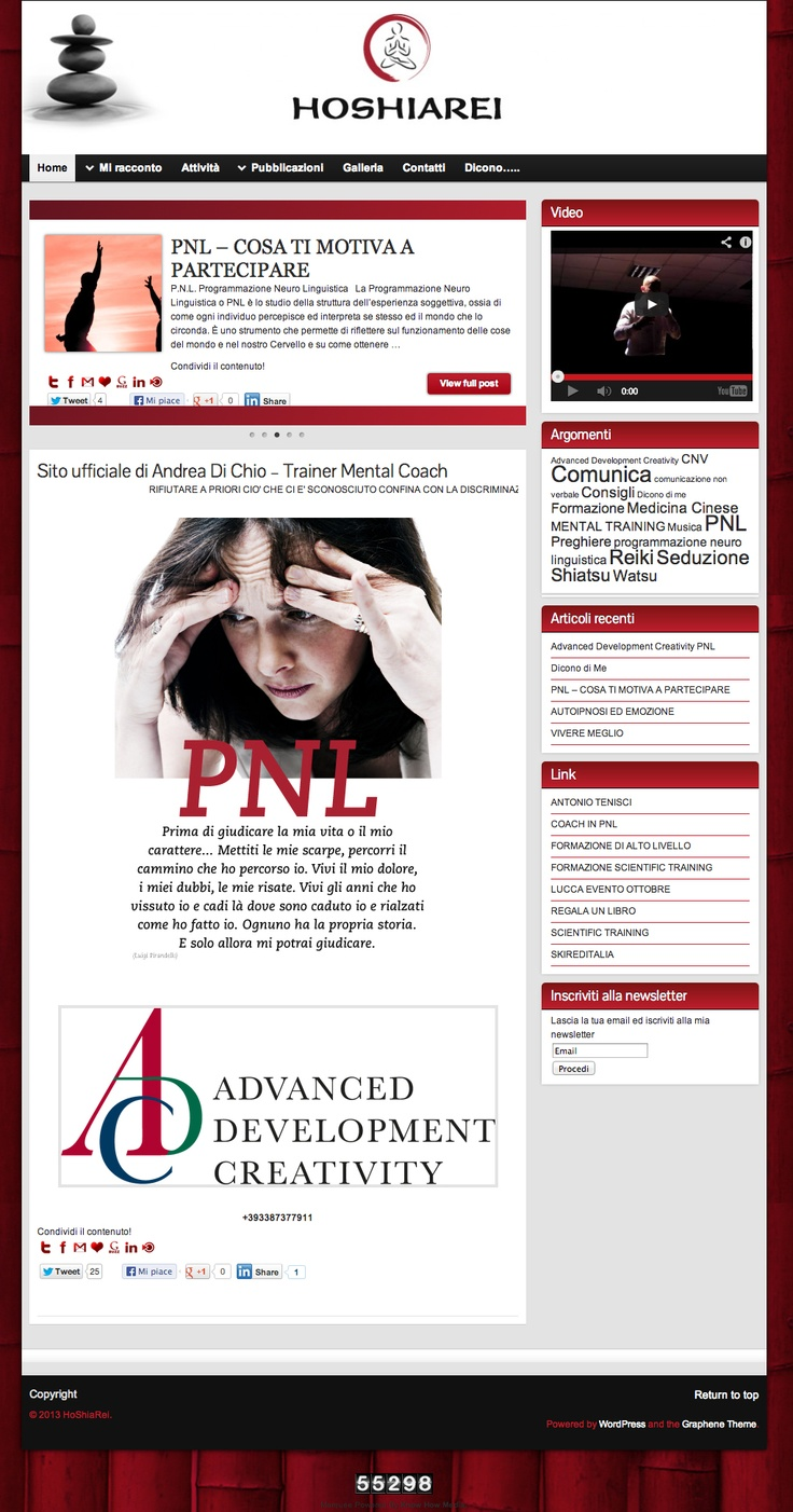 Sito web di presentazione per il Maestro Andrea di Chio di Rimini - HomePage - Realizzato con Wordpress- Anno 2013