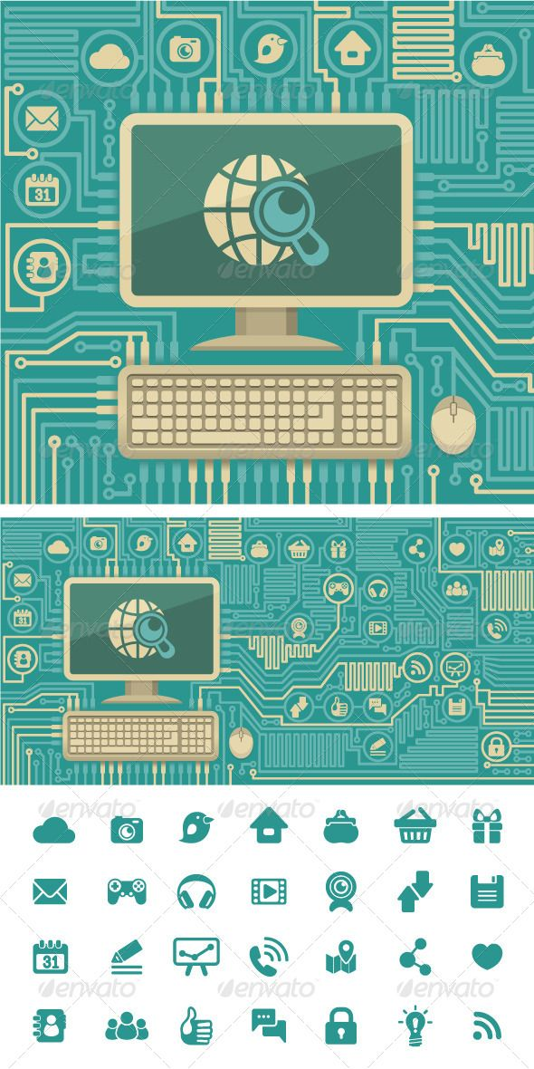 Circuit Board with a Computer and Web Icons  #GraphicRiver         Conceptual illustration of Internet interaction in the form of computer board with …