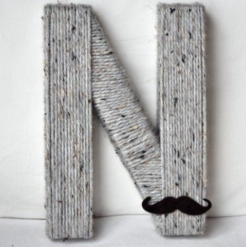 the twenty six week yarn letter alphabet project letter N eight inch $16