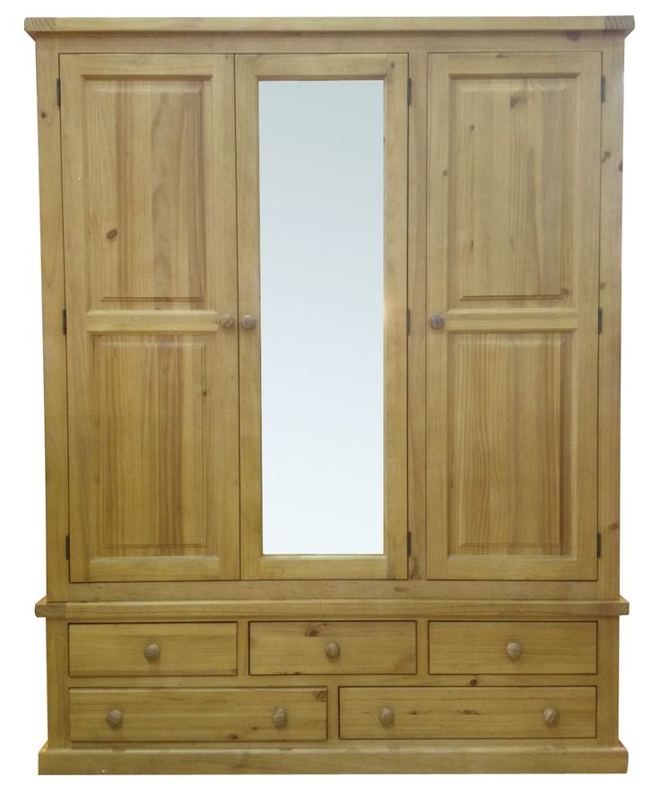 Country Pine Large 3 Door Mirrored Wardrobe, Made From Solid Pine, Complete  With Sturdy