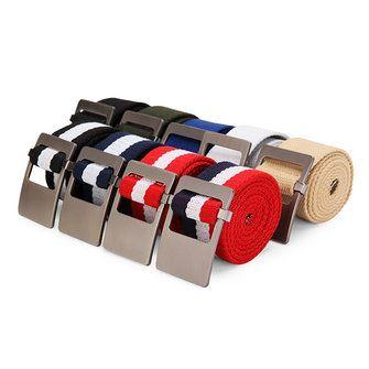 110CM Men Canvas Belt Alloy Head Thick Weave Stripe Buckle Pants Strip at Banggood