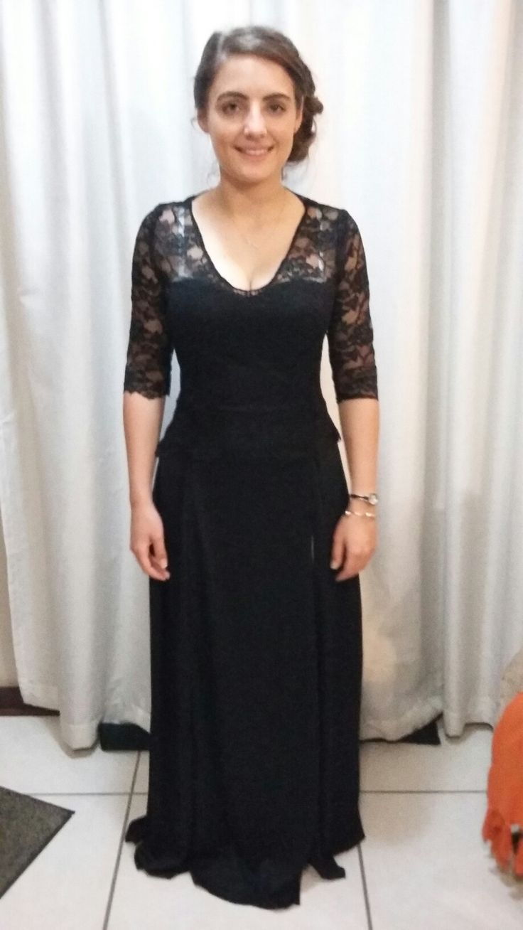 Lovely long black lace evening dress