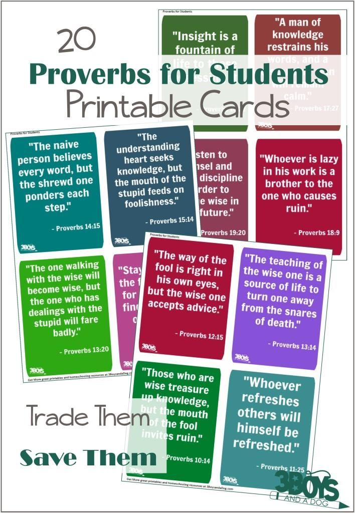 Printable Proverbs for Students - These quote cards can be used in your classroom or as gifts.