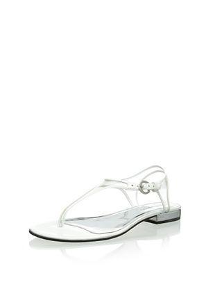 80% OFF Bernardo Women's Parker Triangle T-Strap Sandal (White)