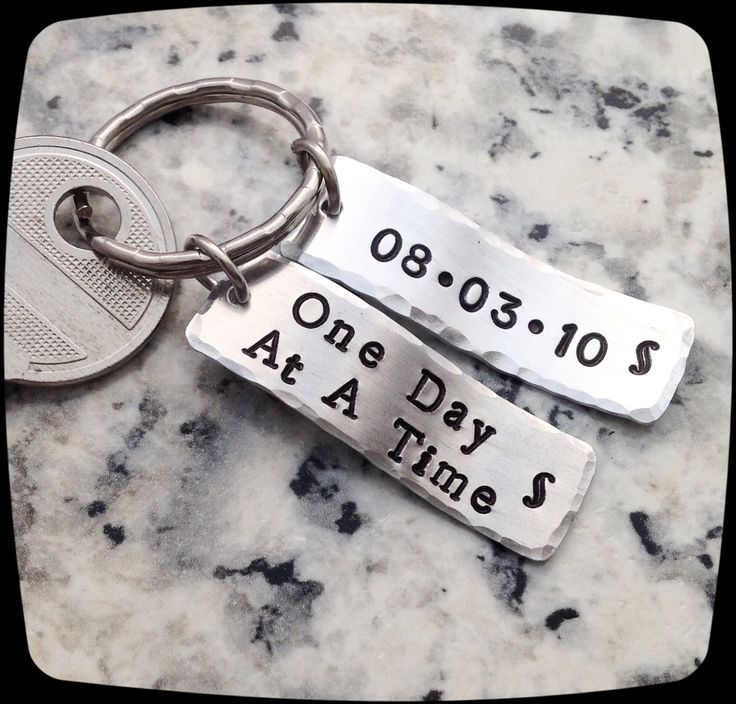 Sobriety Gift, One day at a time, Sobriety, Addiction Recovery Key Chain, Sobriety Date Key ring by ThatKindaGirl on Etsy