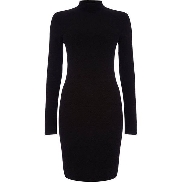 Rita Turtle Neck Dress ($56) ❤ liked on Polyvore featuring dresses, long-sleeve turtleneck dresses, figure hugging dress, longsleeve dress, turtleneck tops and long sleeve form fitting dresses