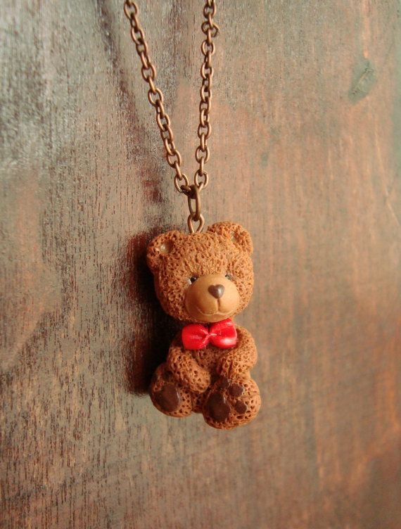 Check out this item in my Etsy shop https://www.etsy.com/listing/224273758/teddy-bear-pendant-with-red-bow-tie-cute