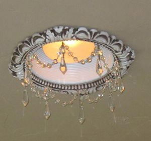 Victorian recessed light trim with clear u-drop crystals