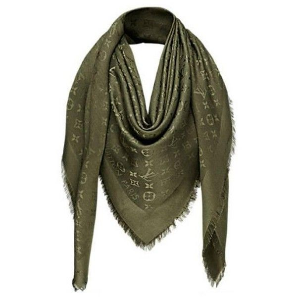 Preowned Louis Vuitton Monogram Shawl Khaki - M75698 ($395) ❤ liked on Polyvore featuring accessories, scarves, multiple, silk scarves, monogrammed scarves, monogram shawl, shawl scarves and silk shawl