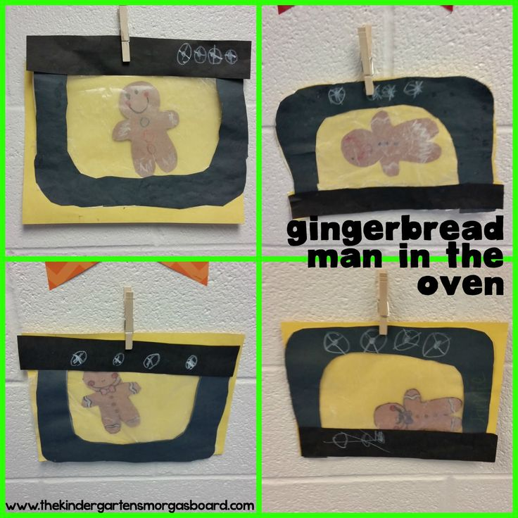 The gingerbread man in the oven!  A fun art project to use during your gingerbread man unit!