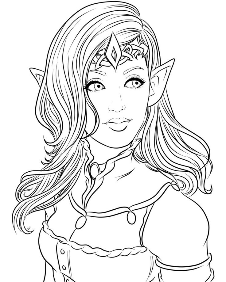 Line Art For My Recent The Elven Queen Piece Feel Free To Color Under Normal Rules Of Credit And Link Back No Selling Claiming As Your Own