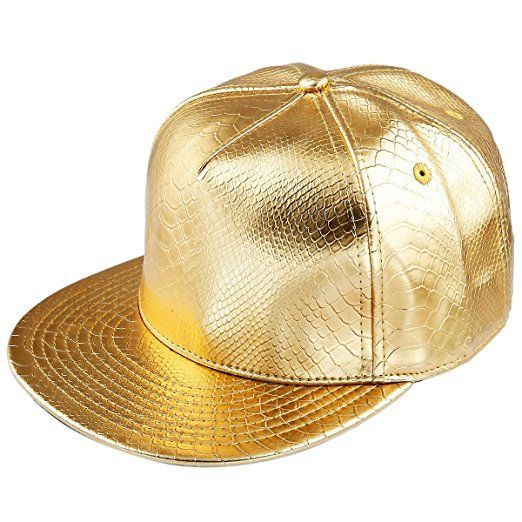 Shanxing Unisex Baseball Cap PU Snapback Flat Peak Hip-Hop Adjustable Hat,Gold