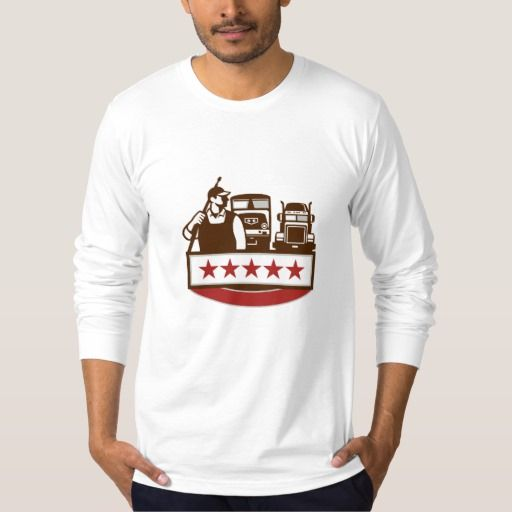 Power Washer Worker Truck Train Stars Retro T Shirt. Illustration of a male pressure washing cleaner worker holding a pressure water gun on shoulder looking to the side with truck and train in the background with stars set on isolated white background. #Illustration #PowerWasherWorkerTruckTrain