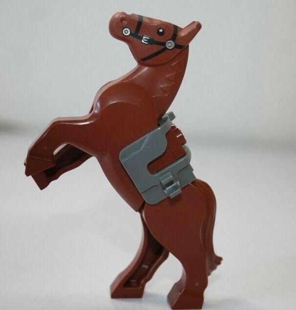 Lego Minifigure Animal Land Horse Brown Black Bridle Pattern
