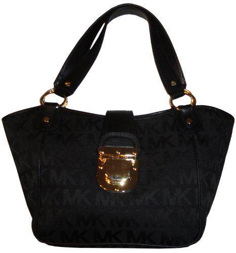 Wadulifashions — Women's Michael Kors Purse Handbag Charlton Medium Tote Jacquard Black/Black/Black - wadulifashions.com