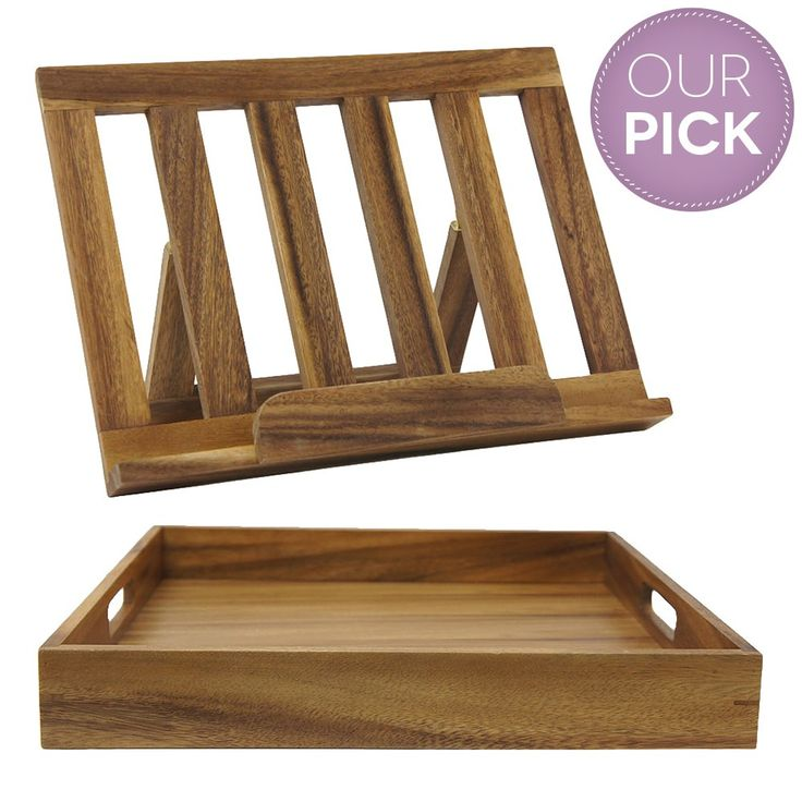 acacia square tray and cook book stand set head chef on temple u0026 webster - Recipe Book Holder