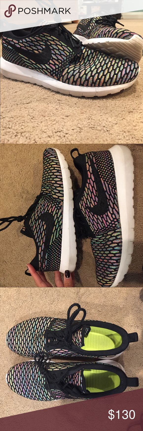 Multicolor flyknit Nike Roshe;Ven Mo $100;W-size9 Worn 5 times with no wearing anywhere, basically brand new with multicolor flyknit, limited edition customized Nike Shoes Athletic Shoes