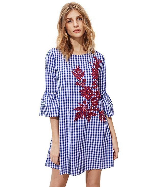 969fe39411aa5f Floerns Women's Bell Sleeve Embroidered Tunic Dress | Clothes ...