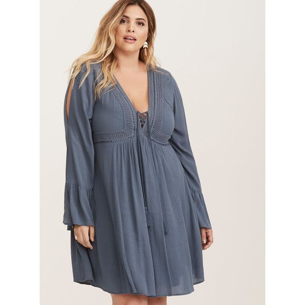 Torrid Gauze Lace Up Skater Dress ($65) ❤ liked on Polyvore featuring dresses, plus size dresses, bell sleeve dress, plus size crochet dress, women plus size dresses and plus size bohemian dresses