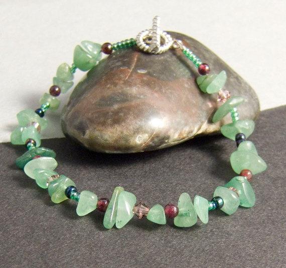 Green Bracelet Green Aventurine Gemstone Bracelet by AnandaBijoux