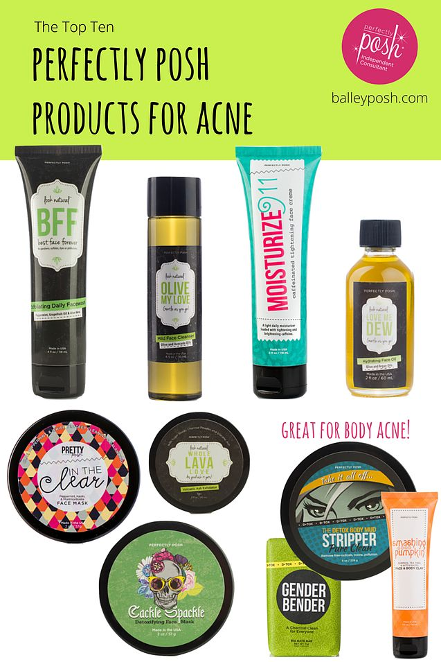 The Top 10 Perfectly Posh Products for Acne Link to order or join Posh:  https://www.perfectlyposh.com/PoshwithFaith/   Contact me at: https://www.facebook.com/tweedle.kae