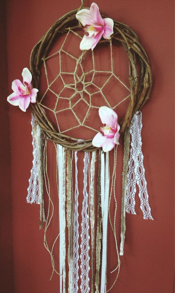 Shabby Chic Floral Dreamcatcher with Branch frame and decorated with hemp cording, lace, ribbon and faux pearls. Available at etsy.com/shop/mxllyjane