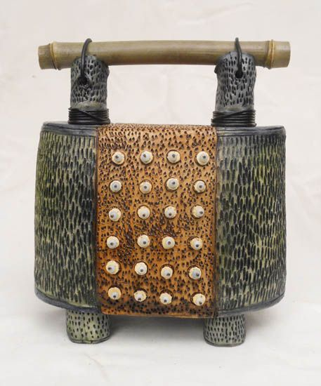 Vicki Grant - Sculptural Form Porcelain and mixed media, bamboo handle 11 x 9 x 5-1/2 in