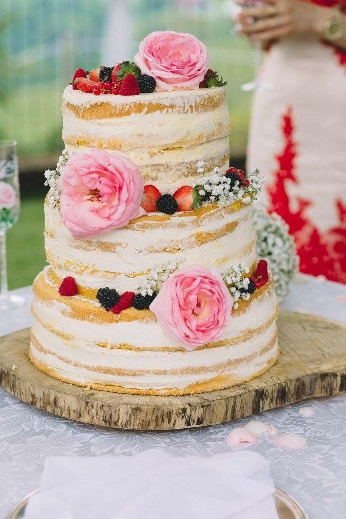 A beautiful naked cake..Danielle Design weddings