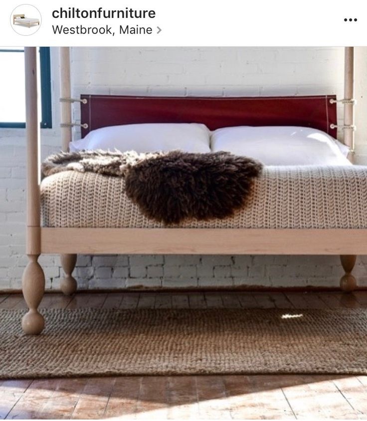 Chilton's High Mast bed, with headboard made from repurposed sail cloth, by Sea Bags Maine.  In solid maple.  Made in Maine.