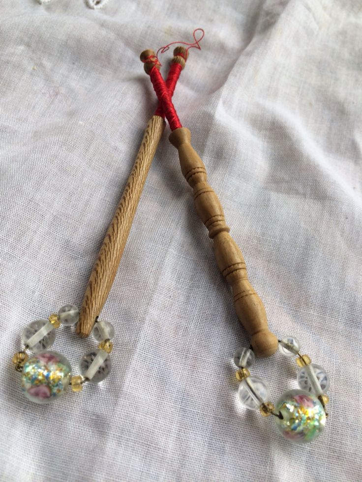Pair of wooden lace bobbins