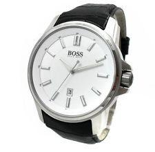 HUGO BOSS Black Herren Uhr 1513042 Edelstahl silber weiß Leder schwarz     NEU