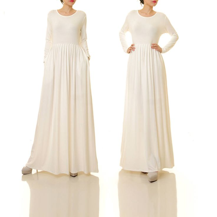 Long White Dress Long Sleeve | White Maxi Dress | Knit Dress With Pockets | White Dress Bridal Shower | Plus Size Maxi Dress 6495 by Tailored2Modesty on Etsy