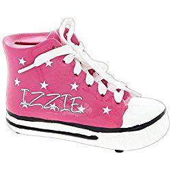 Personalized Kids Retro Shoe Piggy Bank (Pink)