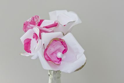 handmade paper flowers from japanese paper and tinted.