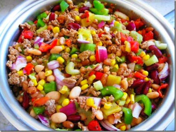 Slow Cooker Turkey Vegetable Chili, 100% Simply Filling, 5 points+