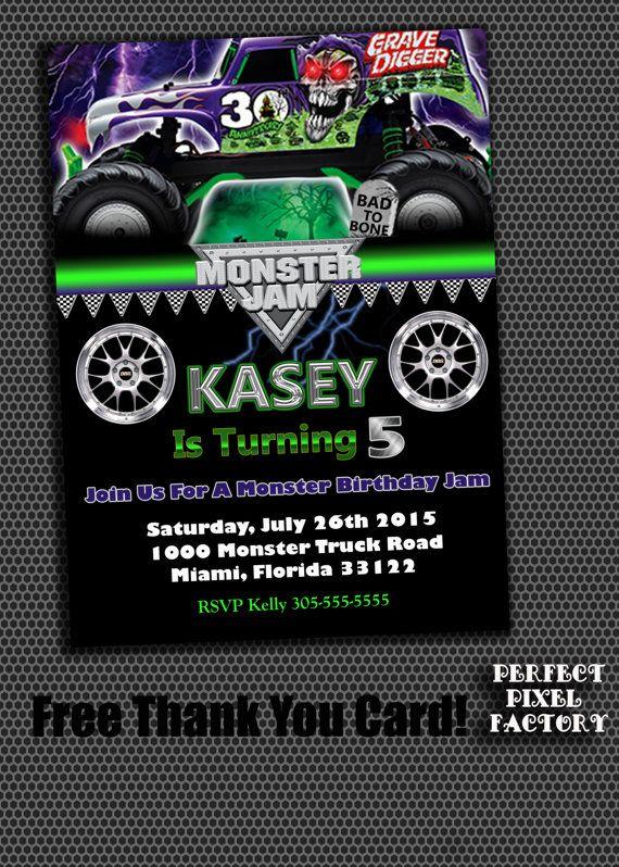 16 best party hardy monster jam grave digger inspired images on monster truckinvitationgrave digger monster truck birthday printable monster truck filmwisefo