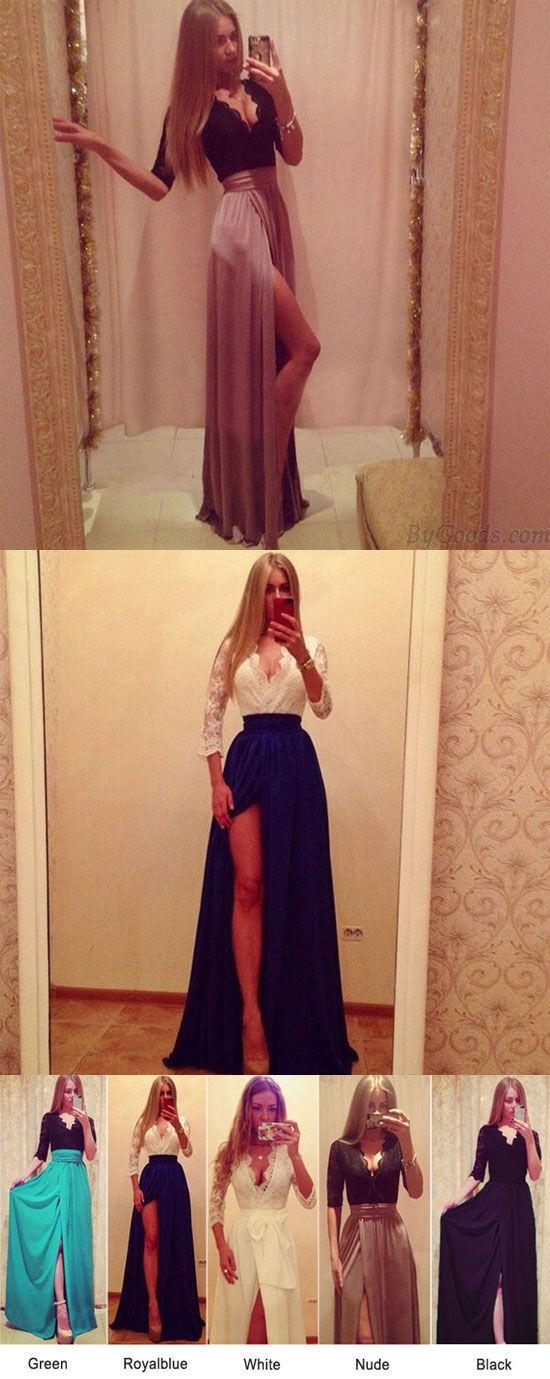 Deep V Side Slit Middle Sleeve Long Dresses for big sale! #dress #long #women #sexy