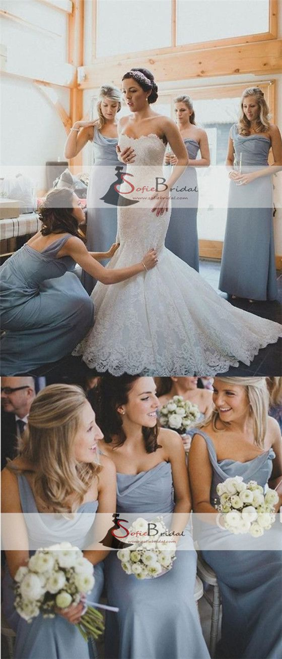 One Shoulder Dusty Blue Long A-line Chiffon Bridesmaid Dresses, Cheap Popular Bridesmaid Dresses, PD0322
